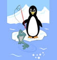 cute penguin fishing on ice floe penguin cartoon vector image