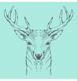 deer head green pastel hand drawn vintage vector image