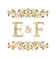 e and f vintage initials logo symbol vector image vector image