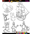 fantasy cartoon set for coloring book vector image vector image