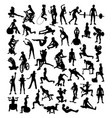 fitness and gym sport silhouettes vector image vector image