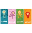 funny monster in different seasons vector image vector image
