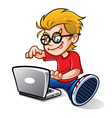 Geeky Kid Blogging vector image