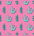 green plants on pink contemporary collage seamless vector image vector image