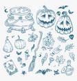 halloween doodles set decoration for vector image vector image