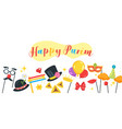 happy purim celebration banner vector image vector image