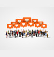 large group of people with like signs social vector image vector image