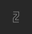Letter Z logo design element mockup thin line vector image vector image