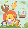 little girl reading book with cartoon animal lion vector image