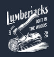 lumberjack log wood or timber with rings and ax vector image vector image