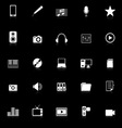 Media icons with reflect on black background vector image vector image