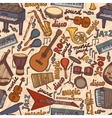 Musical instruments sketch seamless pattern vector image vector image