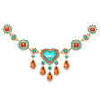 necklace with turquoise heart vector image vector image