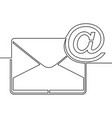 one continuous line drawing of email icon concept vector image vector image