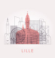 outline lille skyline with landmarks vector image vector image