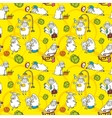 pattern with cartoon sheep vector image vector image
