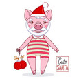 piglet - santa claus wearing a hat and leotard vector image