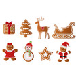 set christmas gingerbreads vector image vector image