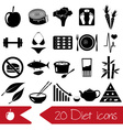 set of diet and healthy life style theme black vector image