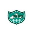 Snow Plow Truck Snowflakes Shield Retro vector image vector image