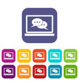 speech bubbles on laptop screen icons set vector image vector image