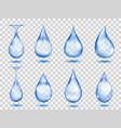 Transparent blue drops vector image