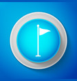 white golf flag icon isolated on blue background vector image vector image