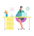 woman working on laptop sitting table office vector image vector image