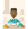 Young black guy is eating salad for lunch in the vector image vector image