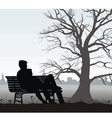 young man and girl on bench vector image