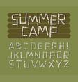 alphabet font made birch tree logs vector image