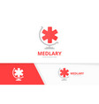 ambulance and globe logo combination medic vector image vector image