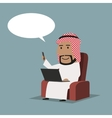 Arab businessman with laptop and smartphone vector image vector image