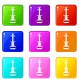 arabic hookah icons 9 set vector image vector image