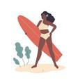beautiful african american woman in bikini stand vector image