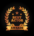 best actor award wreath laurel ribbon vector image