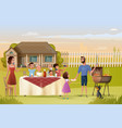 big family holiday dinner or picnic cartoon vector image vector image