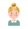blonde girl with tuft pink cheeks and small moth vector image vector image