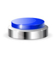 blue push button with metal base vector image