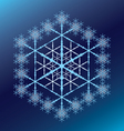 blue six-pointed snowflake on a blue gradient vector image vector image