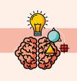 brain creative idea bulb think vector image vector image