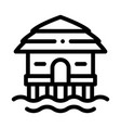 bungalow house on water icon thin line vector image vector image