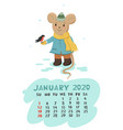 calendar for january 2020 with a mouse that feeds vector image
