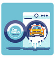 car wash in a drum washing machine vector image vector image