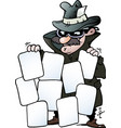 cartoon of an agent with some good cards vector image vector image
