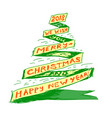 christmas tree in form a ribbon drawn vector image