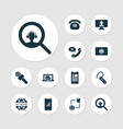 communication icons set with online news article vector image