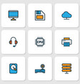 computer icons colored line set with cpu printer vector image