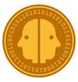 dual face digital coin vector image vector image