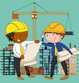 Engineers working at the construction site vector image